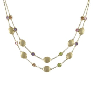Luxiro Brushed Gold Finish Multi-color Cubic Zirconia Two-row Coin Necklace