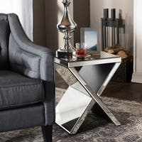 Glam Silver Mirrored Nightstand by Baxton Studio