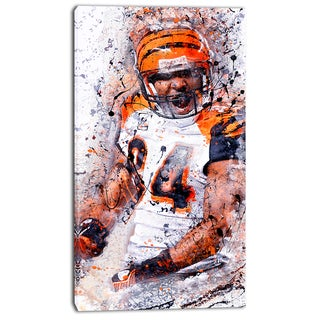 Design Art 'Enthusiastic Football Player' Street Art Canvas Artwork