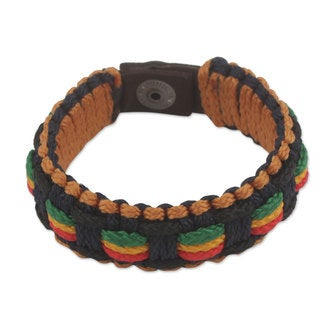 Men's Handcrafted Cord 'Good Vibes' Bracelet (Ghana)