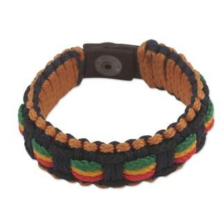 Men's Handcrafted Cord 'Good Vibes' Bracelet (Ghana)