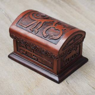 Handcrafted Leather Cedar Wood 'Nazca Legend' Jewelry Box (Peru)