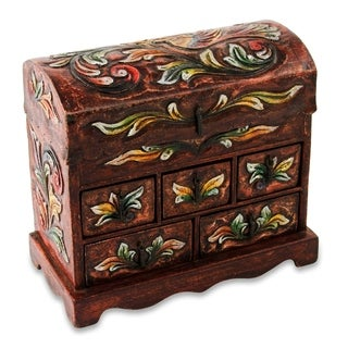 Handcrafted Wood Leather 'Golden Bird' Jewelry Box (Peru)