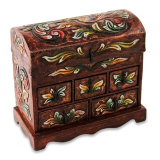 Handmade Wood Leather 'Golden Bird' Jewelry Box (Peru)