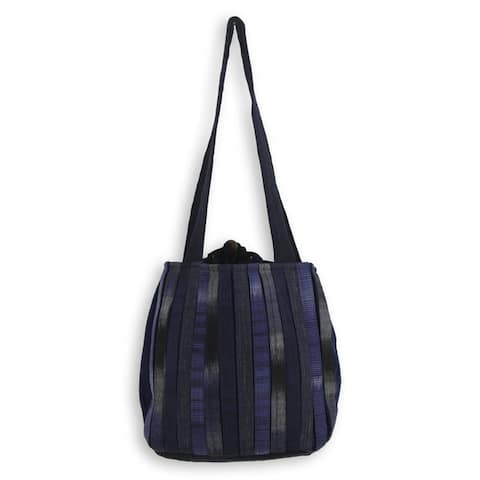 Handmade Cotton Orient Blue Shoulder Bag (Thailand)
