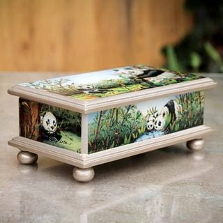 Reverse Painted Glass 'Happy Panda Family' Jewelry Box (Peru)