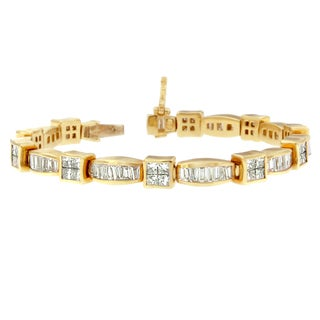 14k Yellow Gold 8 1/6ct Princess/ Baguette High Fashion Diamond Bracelet (H-I,SI1-SI2)