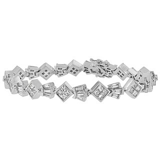 14K White Gold 7 1/6ct. TDW Princess and Baguette Cut Diamond Crown Link Bracelet (G-H,VS1-VS2)