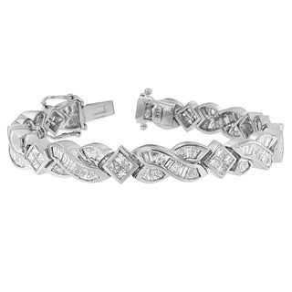 14k White Gold 8 1/5ct Princess/ Baguette Fancy Cut Geometric Diamond Bracelet (H-I,SI1-SI2)