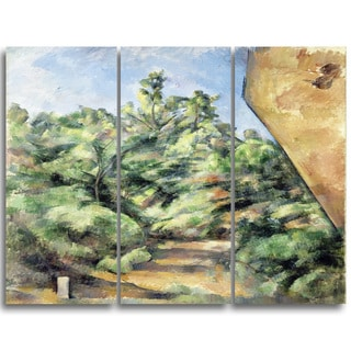 Design Art 'Paul Cezanne - The Red Rock' Canvas Art Print - 28Wx36H Inches - 3 Panels