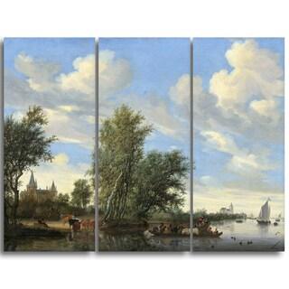 Design Art 'Salomon van Ruysdael - River Landscape with Ferry' Canvas Art Print