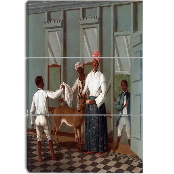 Design Art 'Agostino Brunias - Servants Washing a Deer'  Canvas Art Print