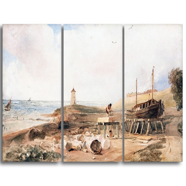Design Art 'Peter DeWint - Shipbuilding on the Coast' Canvas Art Print