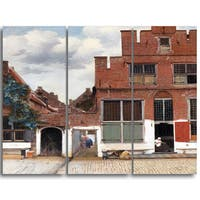Design Art 'Johannes Vermeer - View of Houses in Delft' Canvas Art Print - 28Wx36H Inches - 3 Panels