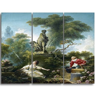Design Art 'Jean-Honore Fragonard - The Meeting' Canvas Art Print - 28Wx36H Inches - 3 Panels