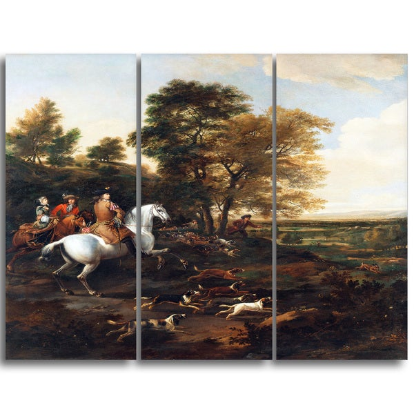 Design Art 'Jan Wyck - Hare Hunting' Canvas Art Print - 28Wx36H Inches - 3 Panels thumbnail