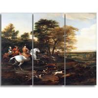 Design Art 'Jan Wyck - Hare Hunting' Canvas Art Print - 28Wx36H Inches - 3 Panels