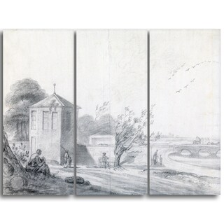 Design Art 'Richard Wilson - Riverside Scene with Figures' Canvas Art Print