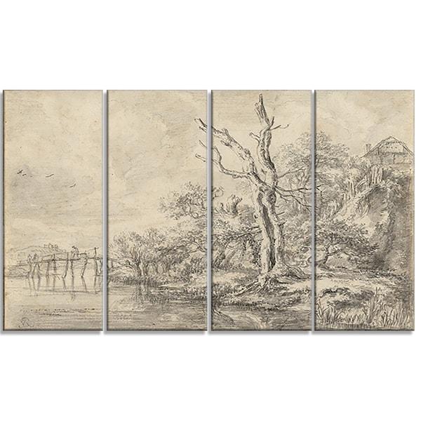 Landscape art canvas art gallery wrapped canvas design art jacob van ruisdael dead tree by a stream