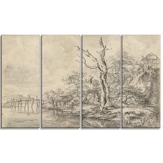 Design Art 'Jacob van Ruisdael - Dead Tree by a Stream' Canvas Art Print
