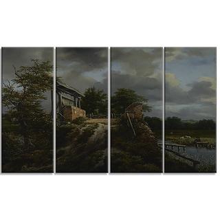 Design Art 'Jacob van Ruisdael - Bridge with a Sluice' Canvas Art Print
