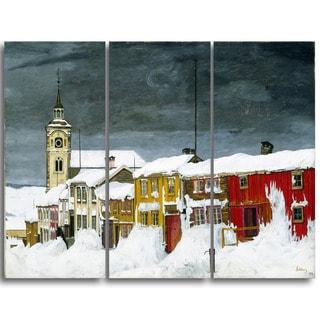 Design Art 'Harald Sohlberg - Street in Roros in Winter' Lansdcape Canvas Artwork