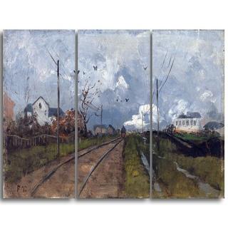 Design Art 'Frits Thaulow - The Train is Arriving' Landscape Canvas Art Print