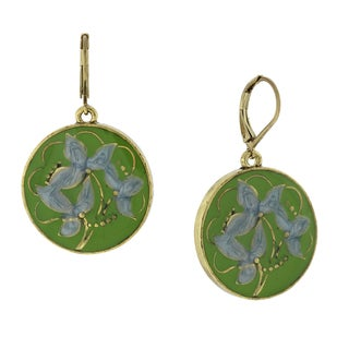 1928 Jewelry Goldtone Light Blue and Green Enamel Round Flower Drop Earrings