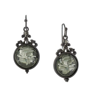 1928 Jewelry Black-tone Floral Etched Black Stone Drop Earrings