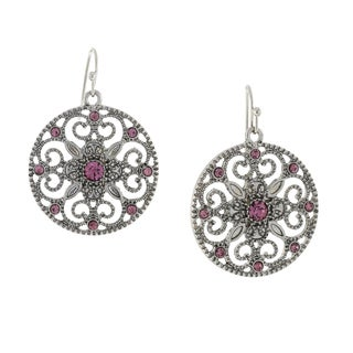 1928 Jewelry Silvertone Purple Round Filigree Drop Earrings
