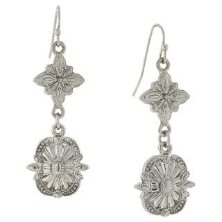 1928 Jewelry Silvertone Tailored Drop Earrings