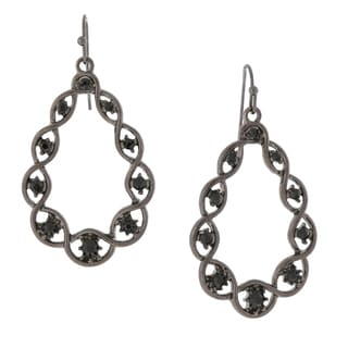 1928 Jewelry Black-tone Black Crystal Open Teardrop Earrings