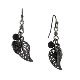 1928 Jewelry Black tone Leaf Drop Earrings