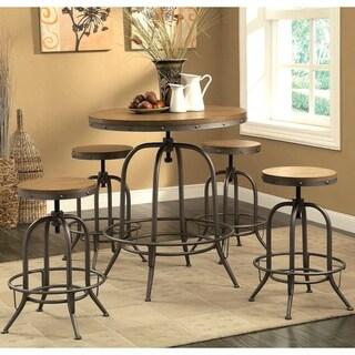 Franklin Nostalgic Distressed Wood Adjustable Bar Table and Stools 5-piece Set - 1-Table, 4-Stools