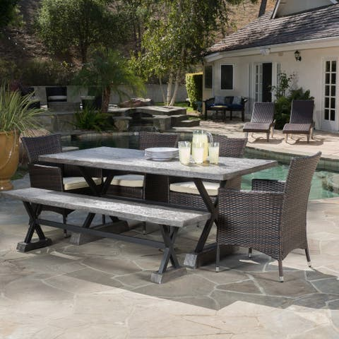 Numana Outdoor 6 Piece Lightweight Concrete Dining Set with Bench by Christopher Knight Home