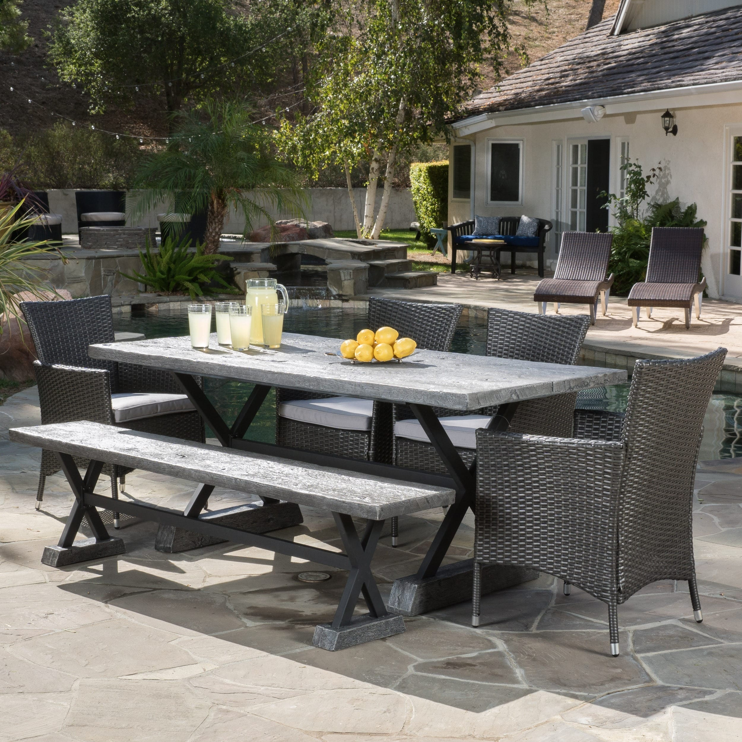 Buy Christopher Knight Home Ponza Outdoor 6 Piece Picnic Dining Set