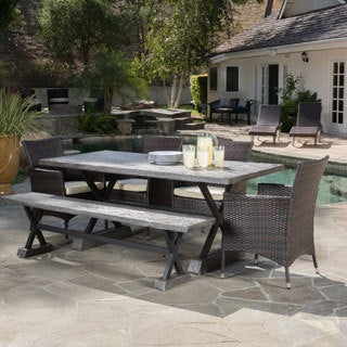 6 Piece Ponza Outdoor Picnic Dining Set By Christopher Knight Home