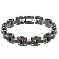 Stainless Steel Men'sTwo-Tone Link Bracelet