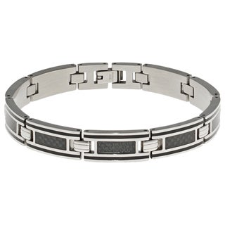 Stainless Steel Carbon Fiber Inlay Men's Link Bracelet