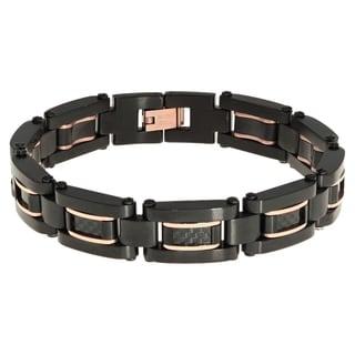 Two-tone Stainless Steel Men's Carbon Fiber Bracelet