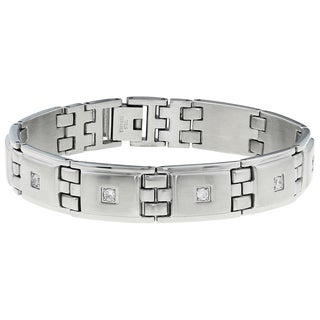 Men's Stainless Steel Cubic Zirconia Bracelet