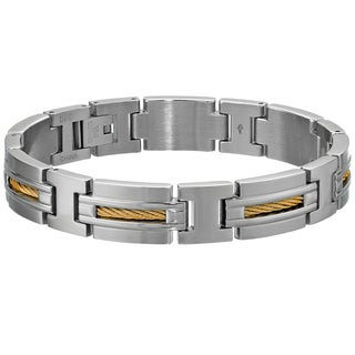 Stainless steel Link Bracelet with Gold-tone Cable Inlay