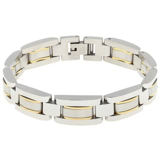Stainless Steel Men's Bracelet with Gold-tone Highlights