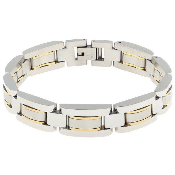 Stainless steel men 39 s bracelet with gold tone highlights for Best mens jewelry sites