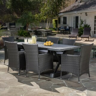 Capri Outdoor 7-piece Dining Set with Cushions by Christopher Knight Home (Option: Grey)