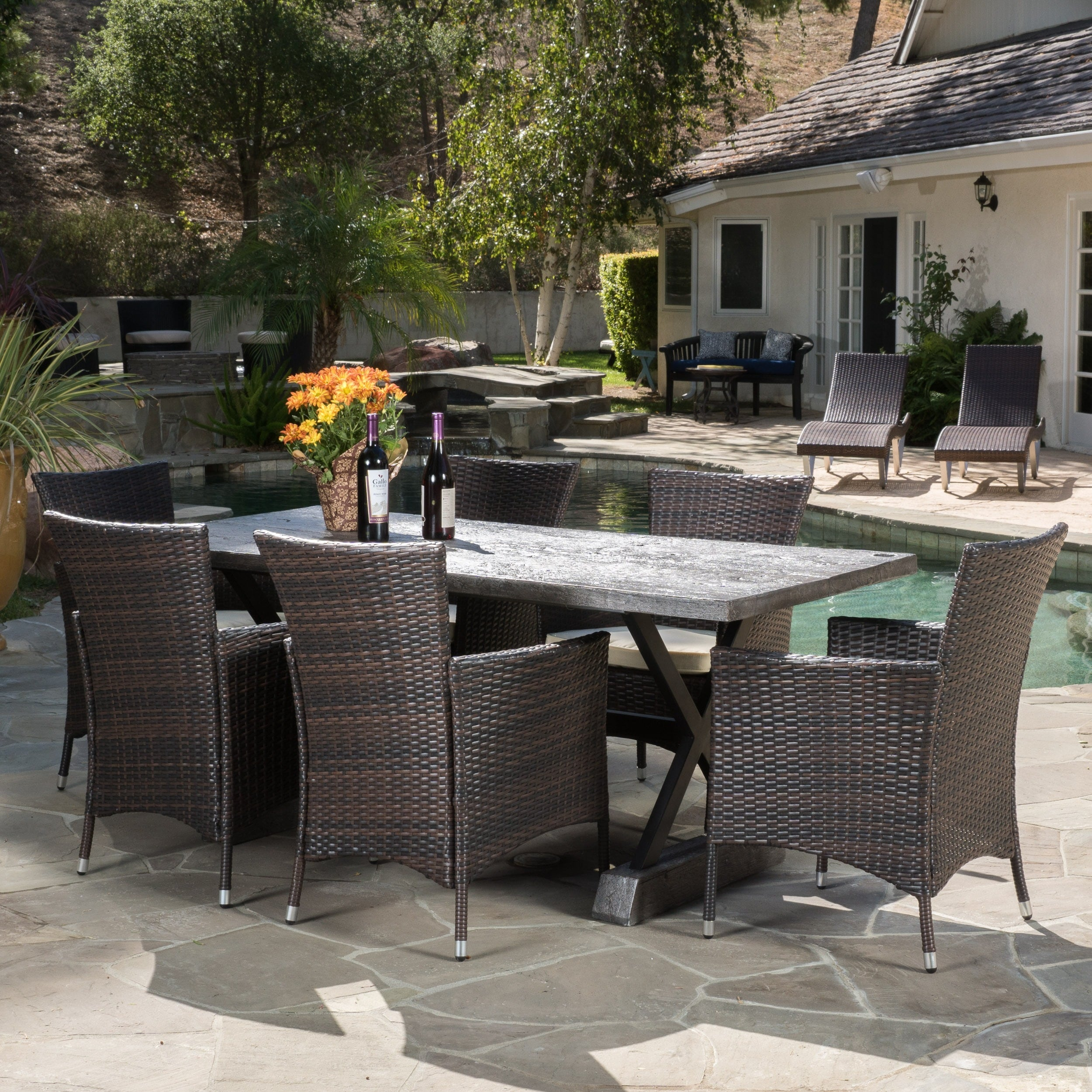 Numana Outdoor 7 Pc Lightweight Concrete Dining Set By Christopher Knight Home On Sale Overstock 10659004 Brown Black Multi Brown Beige Cushion