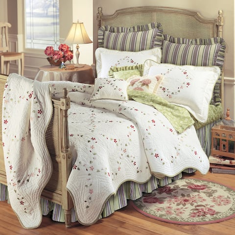 Felicity Cotton Embroidered Floral Quilt (Shams Not Included)