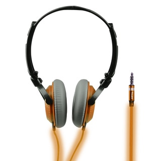 Light-up Orange Folding On-ear Headphones with Built-in Mic