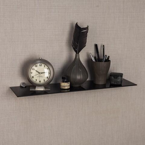 """Black Smoke Glass Floating Shelf with Chrome Brackets - 24"""""""