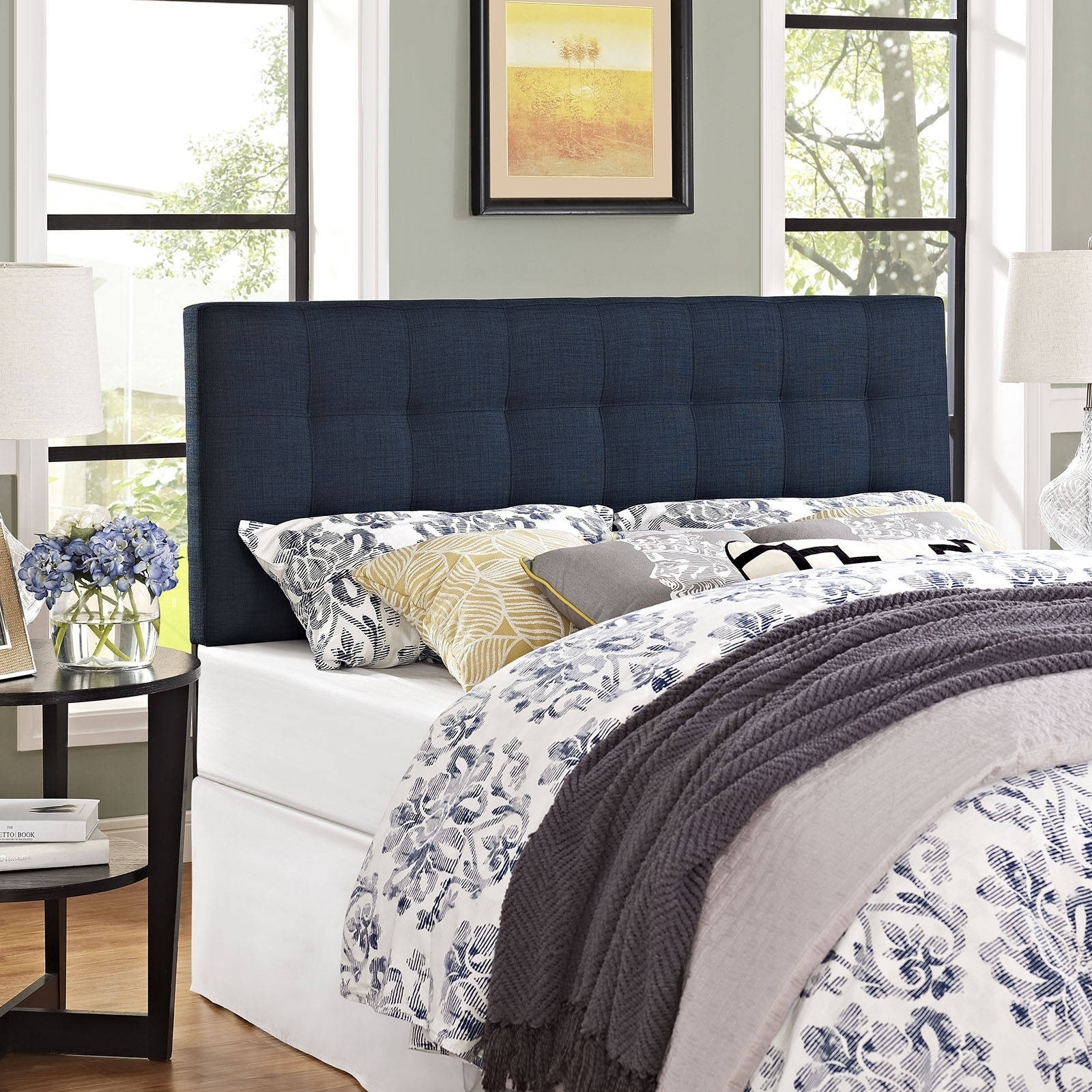 headboard upholstered blue com tufted navy with modway emily inspirations pictures piebirddesign